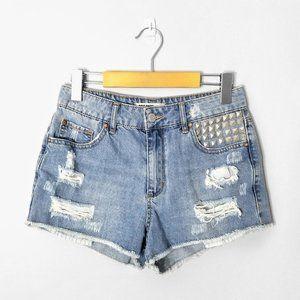 GARAGE Distressed Medium Wash Denim Studded Shorts